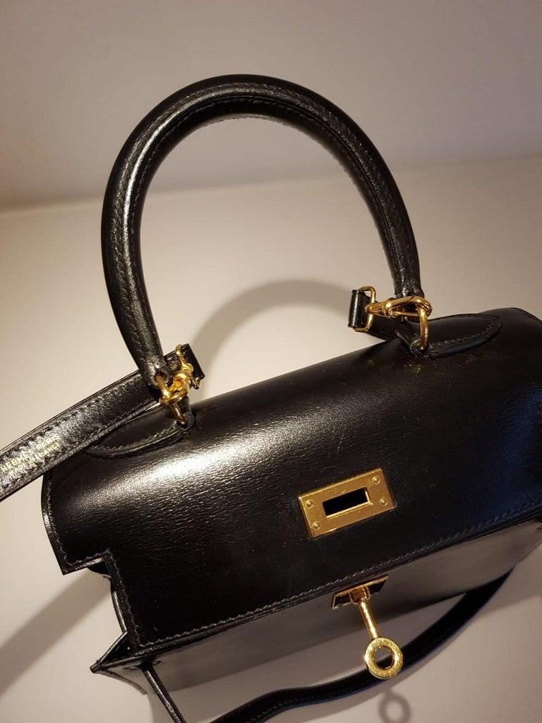Vintage Hermès Mini Kelly Sellier Bag Black Box Leather Ghw 20 cm For Sale 6