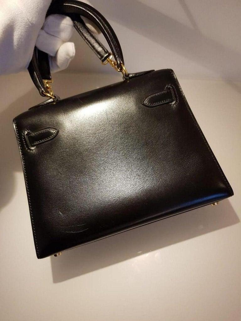 Vintage Hermès Mini Kelly Sellier Bag Black Box Leather Ghw 20 cm For Sale 7