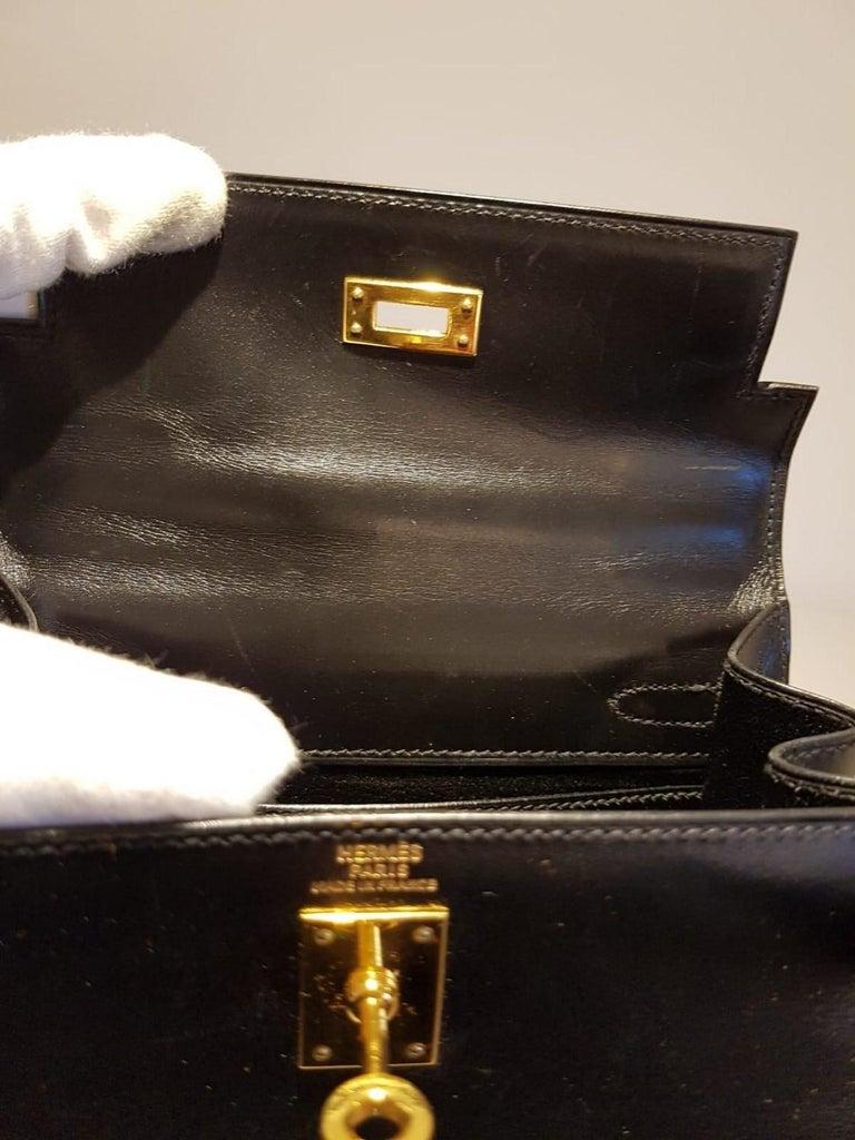 Vintage Hermès Mini Kelly Sellier Bag Black Box Leather Ghw 20 cm For Sale 8