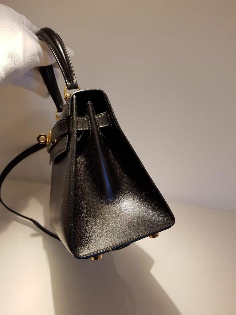 Vintage Hermès Mini Kelly Sellier Bag Black Box Leather Ghw 20 cm For Sale 9