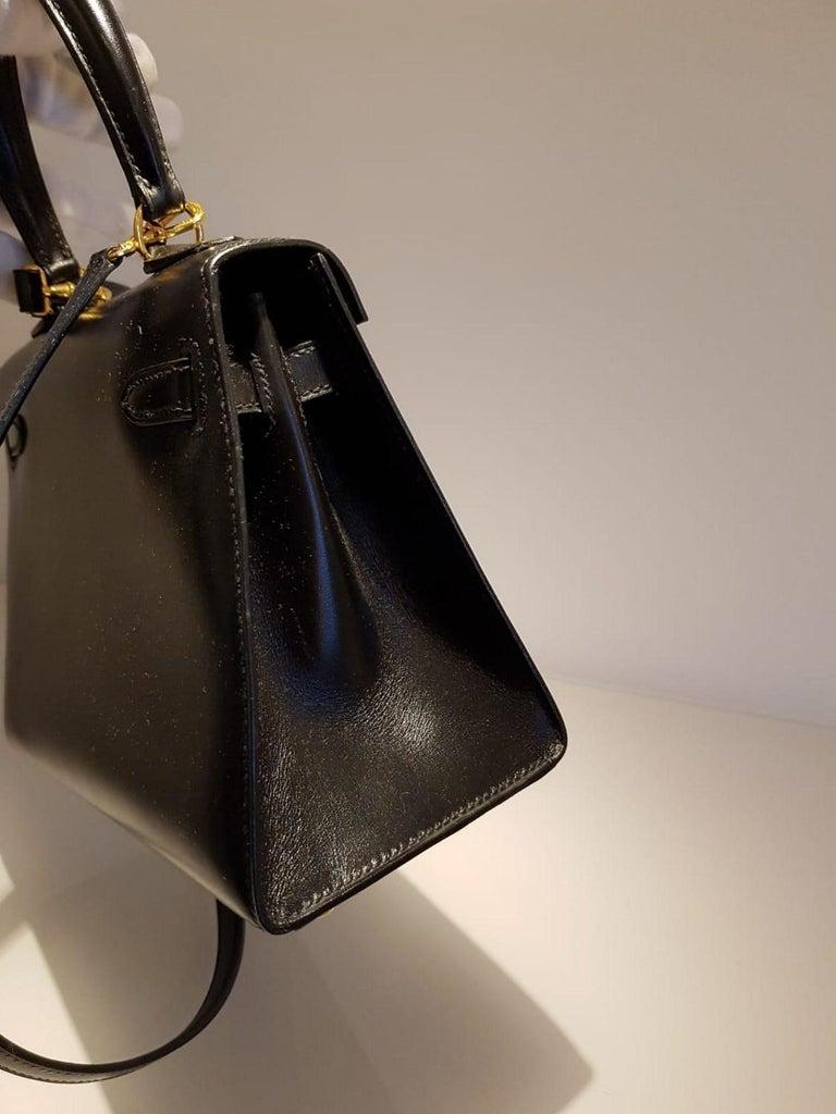 Vintage Hermès Mini Kelly Sellier Bag Black Box Leather Ghw 20 cm For Sale 10