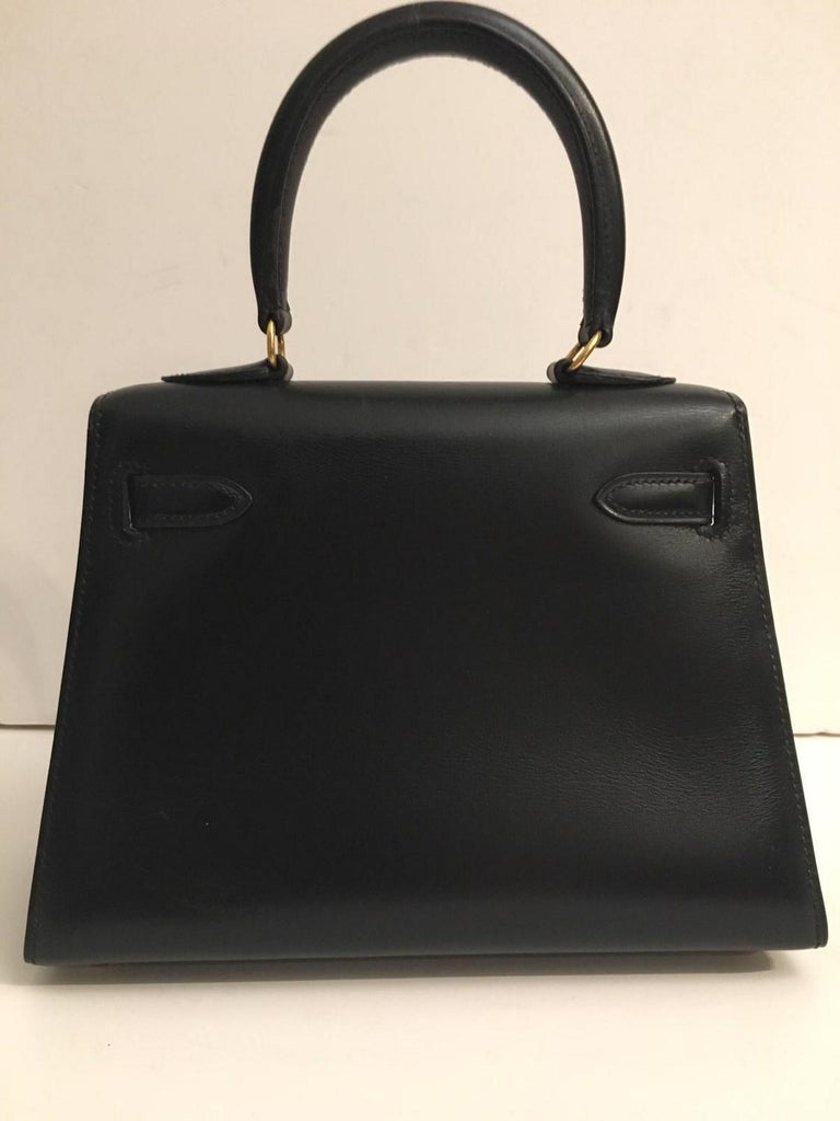 Vintage Hermès Mini Kelly Sellier Bag Black Box Leather Ghw 20 cm In Good Condition In ., FR