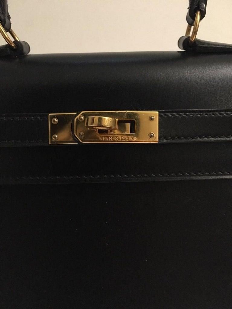 Vintage Hermès Mini Kelly Sellier Bag Black Box Leather Ghw 20 cm For Sale 3