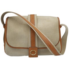 Vintage Hermes Noumea Messeger Bag in Leather and Canvas