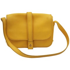 Vintage Hermes Noumea Messeger Bag in Yellow Leather