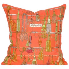 Vintage Hermes Orange Silk Scarf and Irish Linen Cushion Pillow
