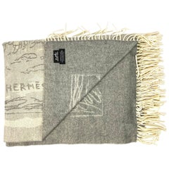 Vintage Hermes Paris Grey Cashmere Throw Blanket
