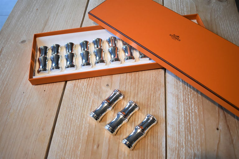 French Vintage Hermès Paris Set of Bamboo Silver Plate Knife Rests in Box For Sale