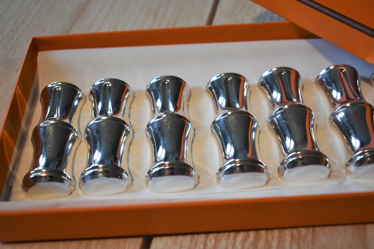Vintage Hermès Paris Set of Bamboo Silver Plate Knife Rests in Box In Good Condition For Sale In Amsterdam, NL