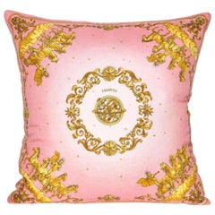 Vintage Hermes Pink and Gold Silk Scarf and Irish Linen Cushion Pillow