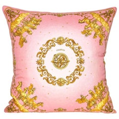 Vintage Hermès Pink and Gold Silk Scarf and Irish Linen Cushion Pillow