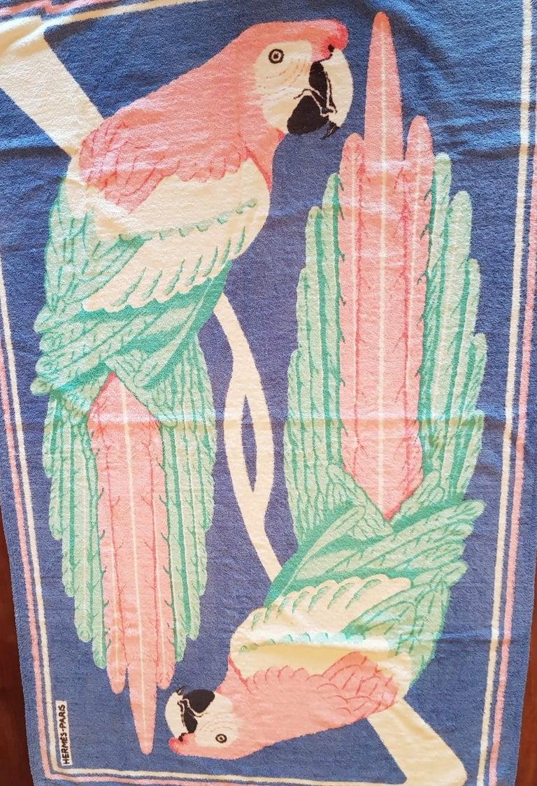 Vintage Hermès Pink Parrots Beach Towel  For Sale 1
