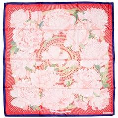 Vintage Hermes Pivoines Silk Scarf