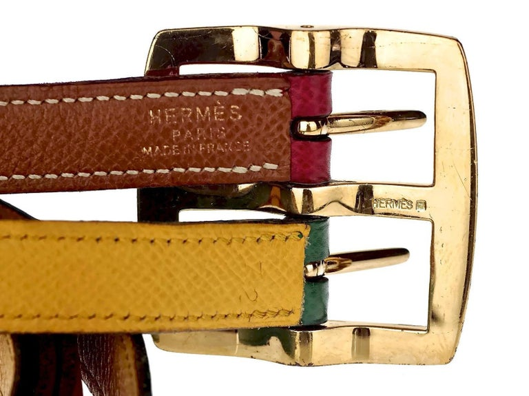 Vintage HERMES Reversible Pop Color Double Strap Belt For Sale 5