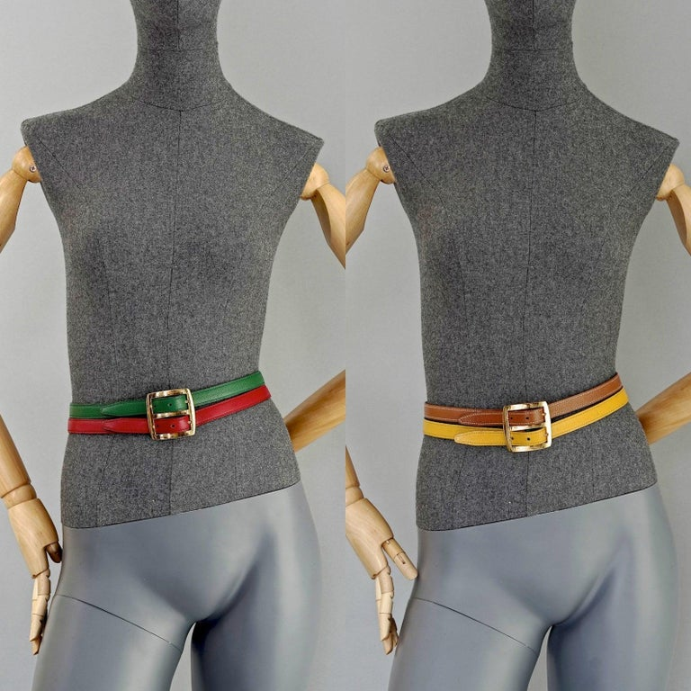 Vintage HERMES Reversible Pop Color Double Strap Belt  Measurements: Buckle Height: 2.16 inches (5.5 cm) Wearable Length: 27.55 inches, 28.34 inches, 29.13 inches (70 cm, 72 cm, 74 cm) Total Length: 31.88 inches (81 cm)  Features: - 100% Authentic