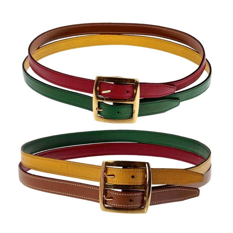 Brown Vintage HERMES Reversible Pop Color Double Strap Belt For Sale
