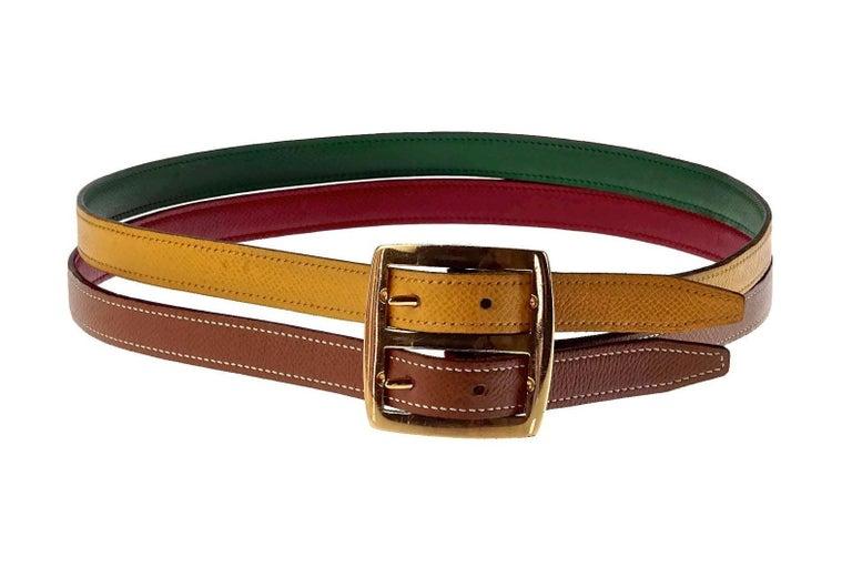 Vintage HERMES Reversible Pop Color Double Strap Belt In Excellent Condition For Sale In Kingersheim, Alsace