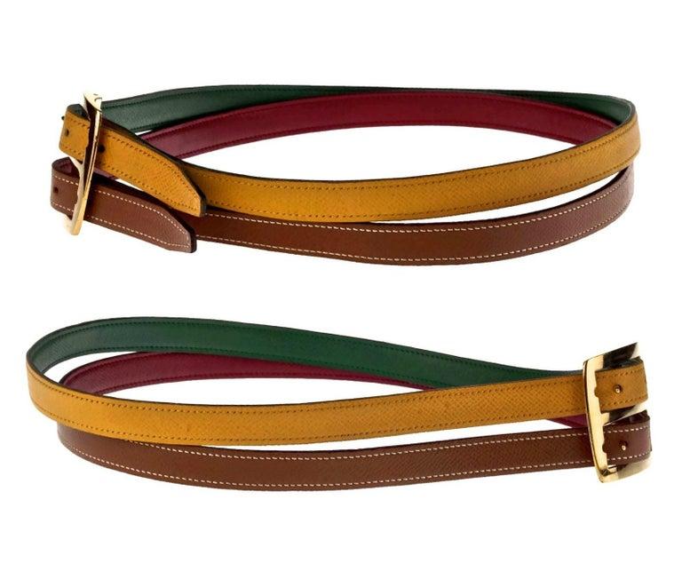 Women's or Men's Vintage HERMES Reversible Pop Color Double Strap Belt For Sale
