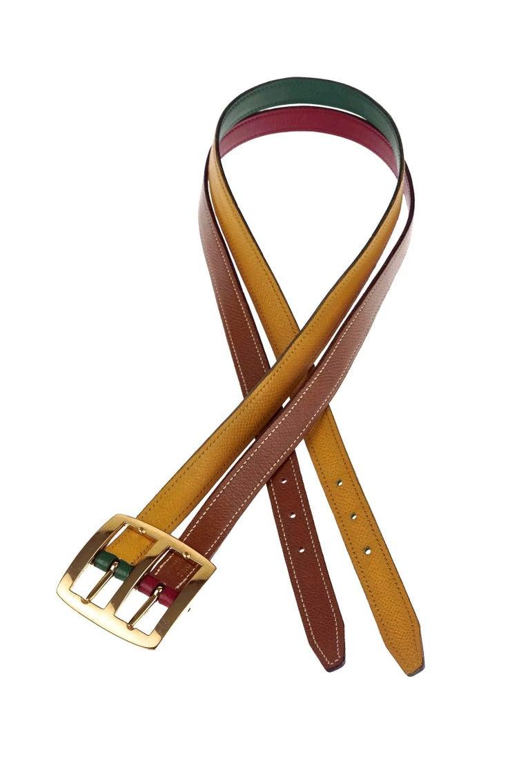 Vintage HERMES Reversible Pop Color Double Strap Belt For Sale 2