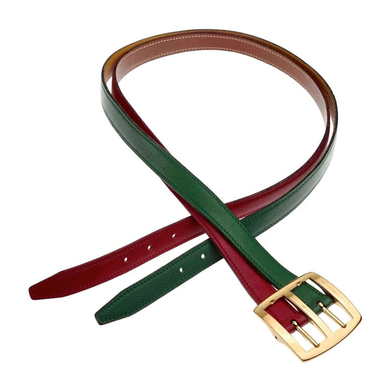 Vintage HERMES Reversible Pop Color Double Strap Belt For Sale 3