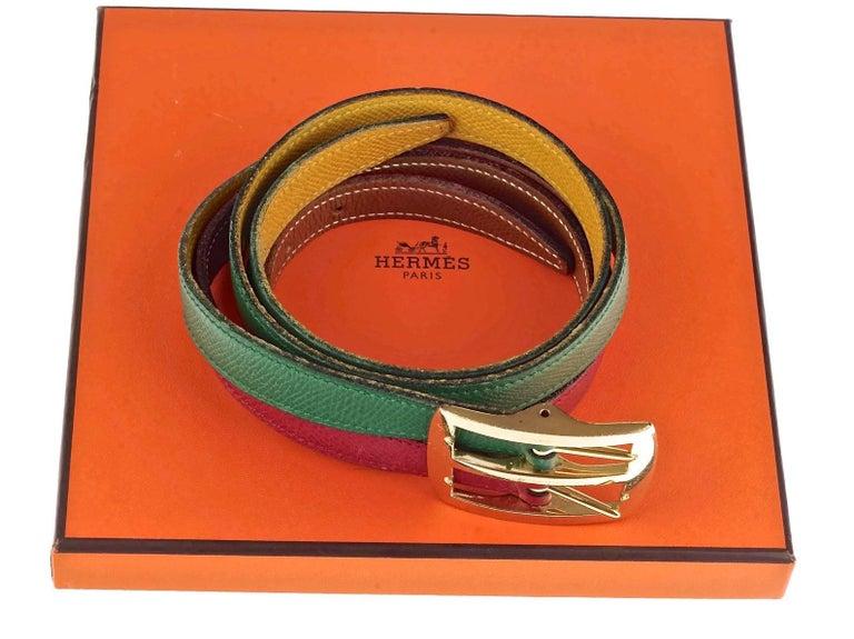 Vintage HERMES Reversible Pop Color Double Strap Belt For Sale 4