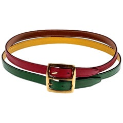 Vintage HERMES Reversible Pop Color Double Strap Belt