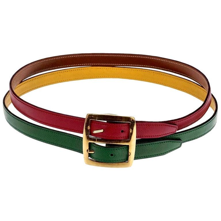 Vintage HERMES Reversible Pop Color Double Strap Belt For Sale