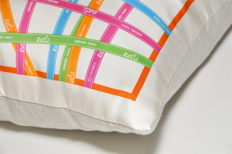 French Vintage Hermès Ribbons 'Bolduc' Silk Scarf and Irish Linen Cushion Pillow Blue For Sale
