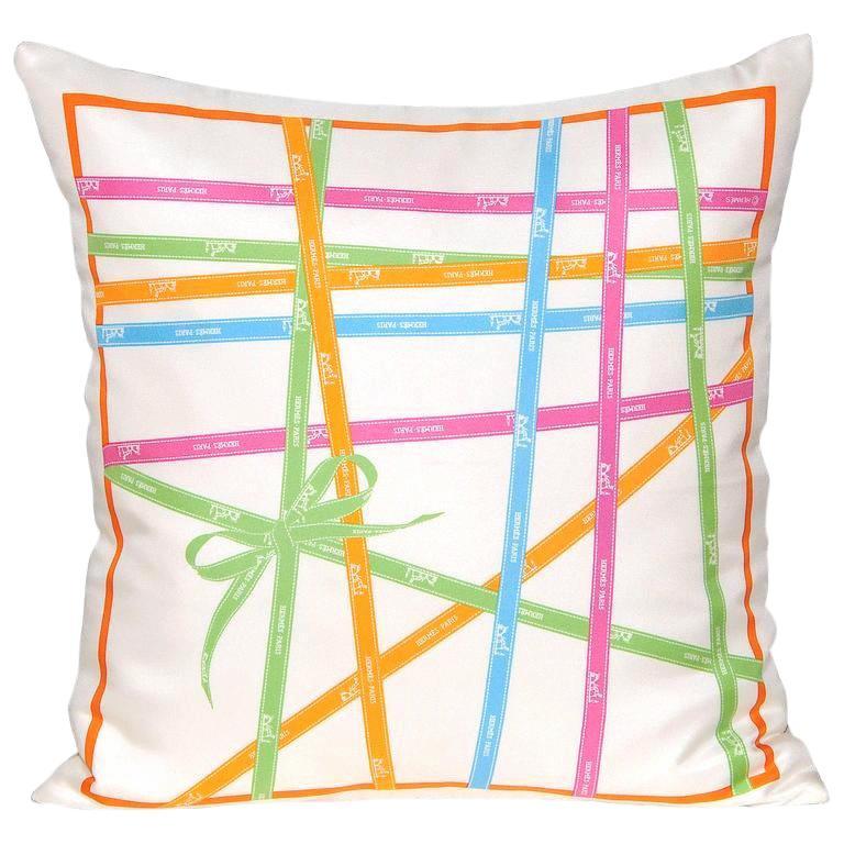 Vintage Hermès Ribbons 'Bolduc' Silk Scarf and Irish Linen Cushion Pillow Blue For Sale