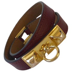 Vintage Hermès Rivale Double Tour Bracelet Epsom Leather