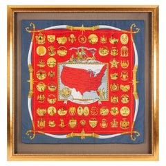 Vintage Hermès Scarf in Celebration of the U.S. Bicentennial in Red