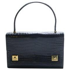 Vintage Hermes Shiny Black Porosus Crocodile Piano Gold Hardware Handbag 1962