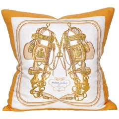 Vintage Hermès Silk Scarf and Irish Linen Cushion Pillow