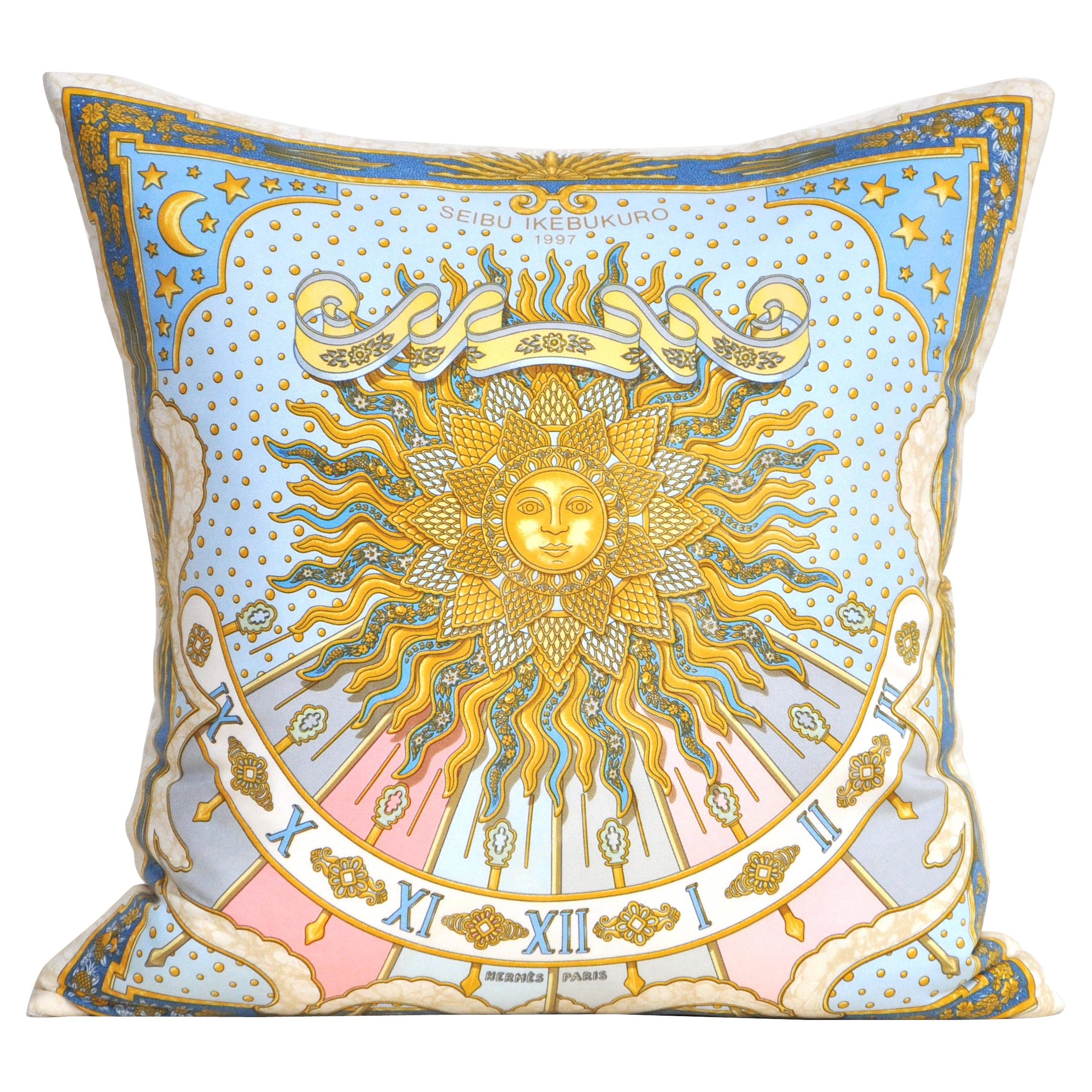 Vintage Hermes Silk Scarf and Irish Linen Luxury Cushion Pillow Blue and Gold