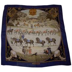 Vintage Hermes Silk Scarf, Presentation de Chevaux