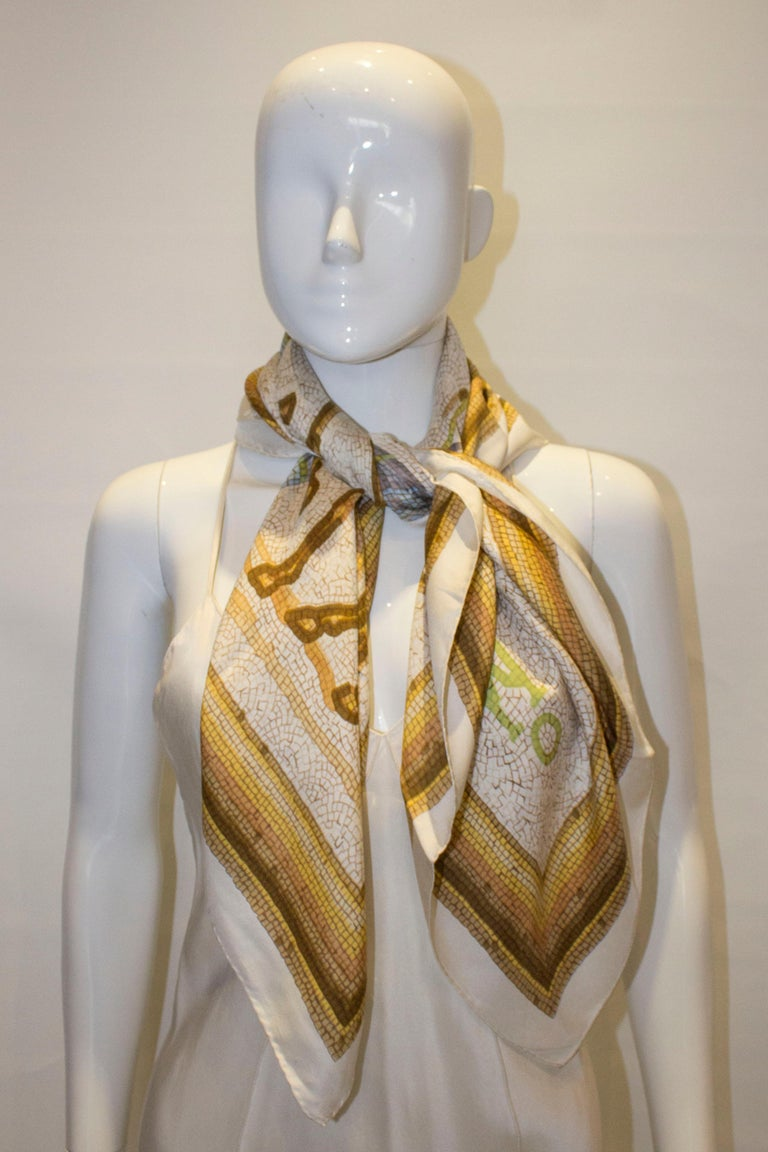 Women's or Men's Vintage Hermes Silk Scarf with Horse Design For Sale