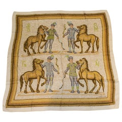 Vintage Hermes Silk Scarf with Horse Design
