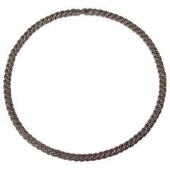 Vintage Hermes Silver Rope Twist Choker Necklace
