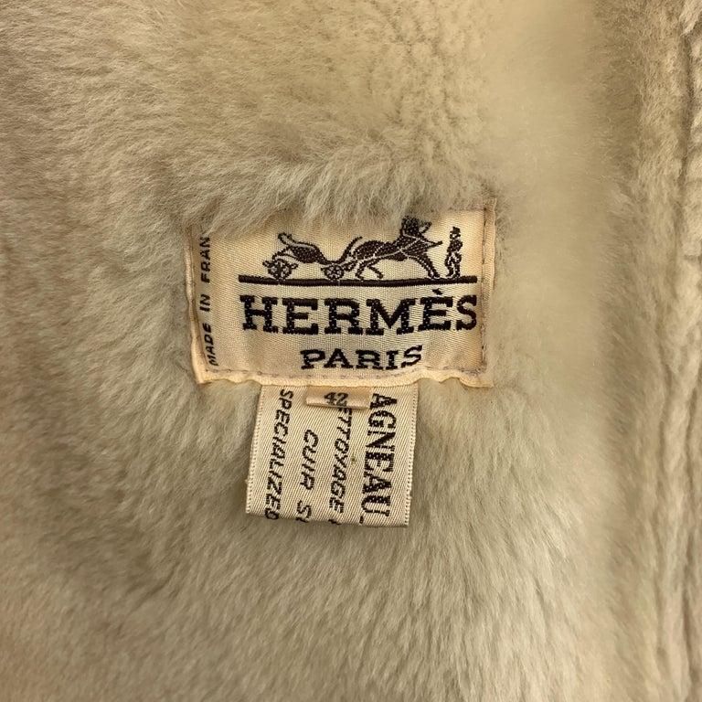 Vintage HERMES Size 10 Tan & Cream Shearling Coat / Jacket For Sale 5