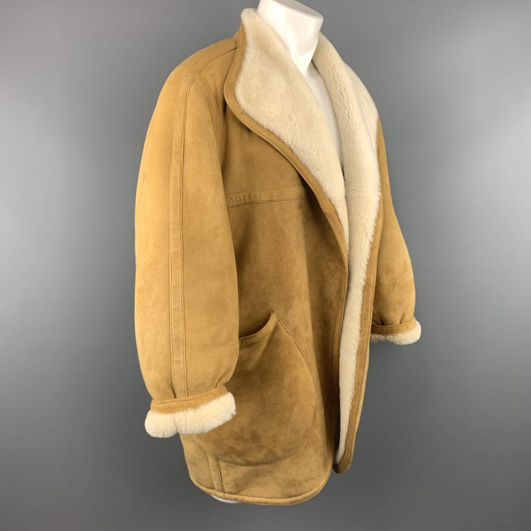 Brown Vintage HERMES Size 10 Tan & Cream Shearling Coat / Jacket For Sale