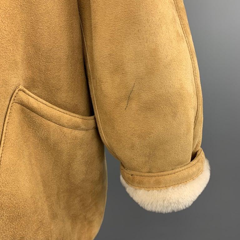 Women's Vintage HERMES Size 10 Tan & Cream Shearling Coat / Jacket For Sale