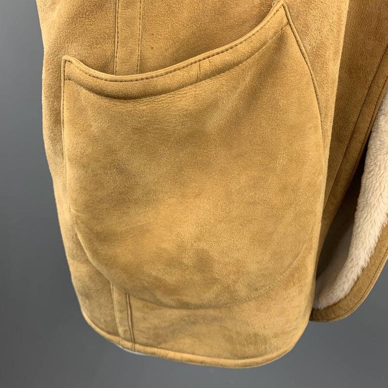 Vintage HERMES Size 10 Tan & Cream Shearling Coat / Jacket For Sale 1
