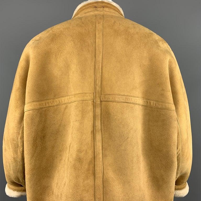 Vintage HERMES Size 10 Tan & Cream Shearling Coat / Jacket For Sale 3