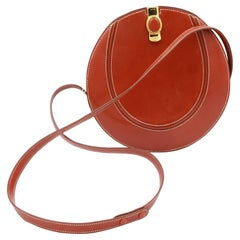 Vintage Hermes Small Round Brown Box Leather Bag