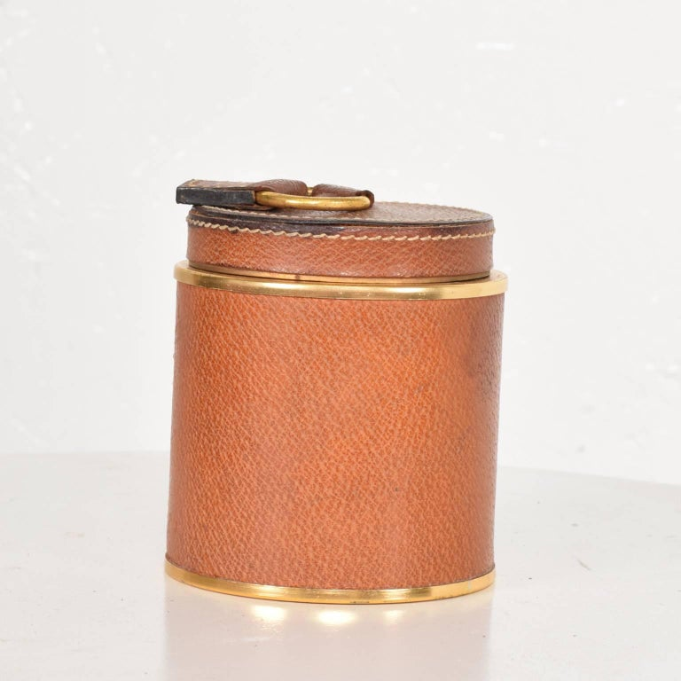 Vintage Hermès style leather and brass cigarette holder. 