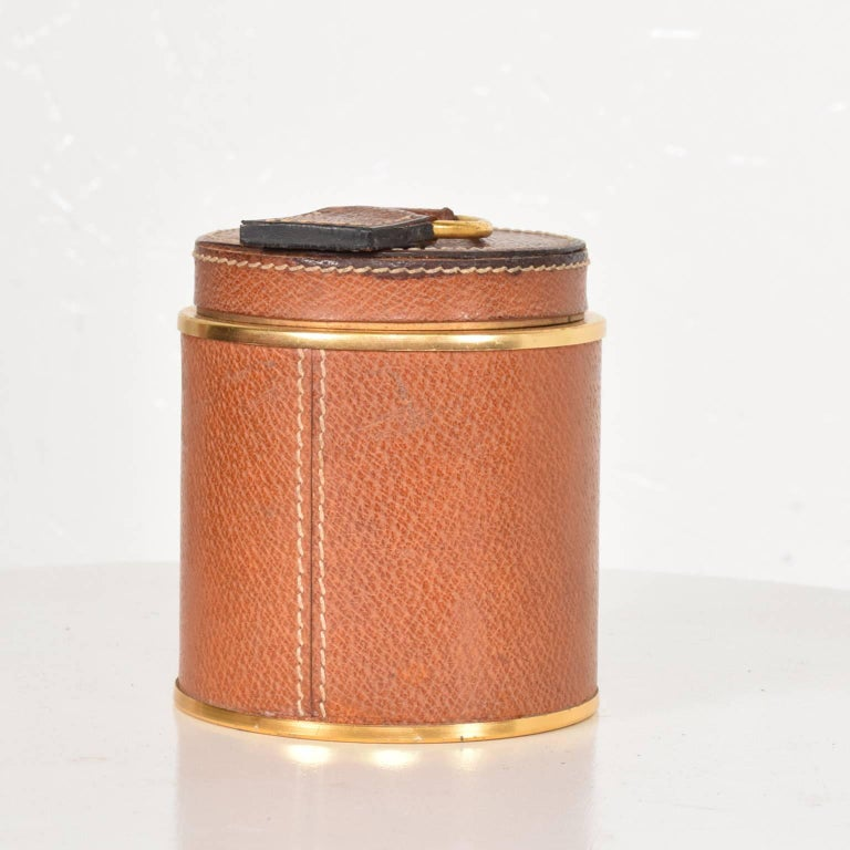 Mid-Century Modern Vintage Hermès Style Leather and Brass Cigarette Holder, Italy, 1950s For Sale