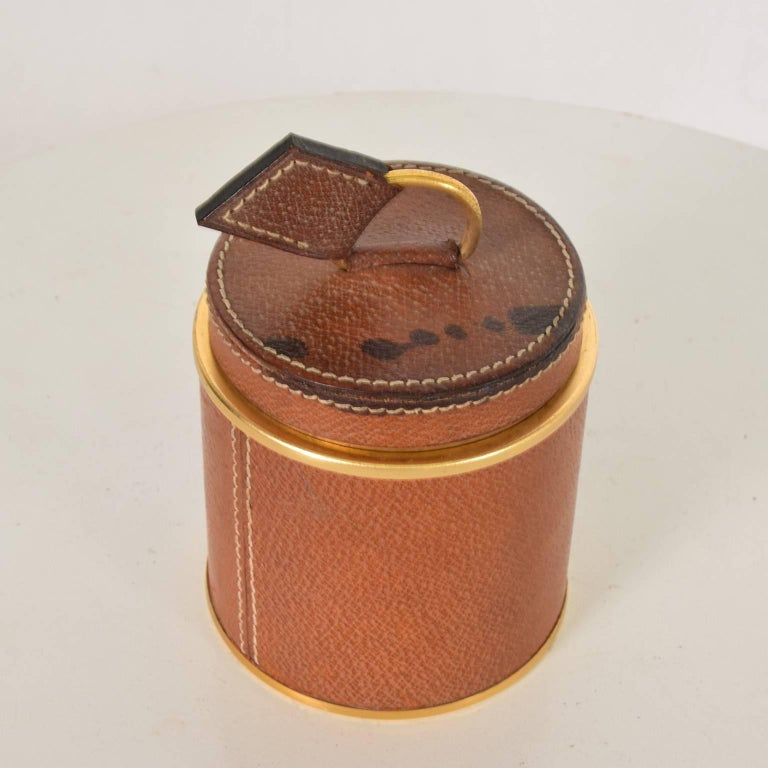 Italian Vintage Hermès Style Leather and Brass Cigarette Holder, Italy, 1950s For Sale