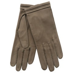 Vintage Hermes Suede Taupe Gloves NWT size 7