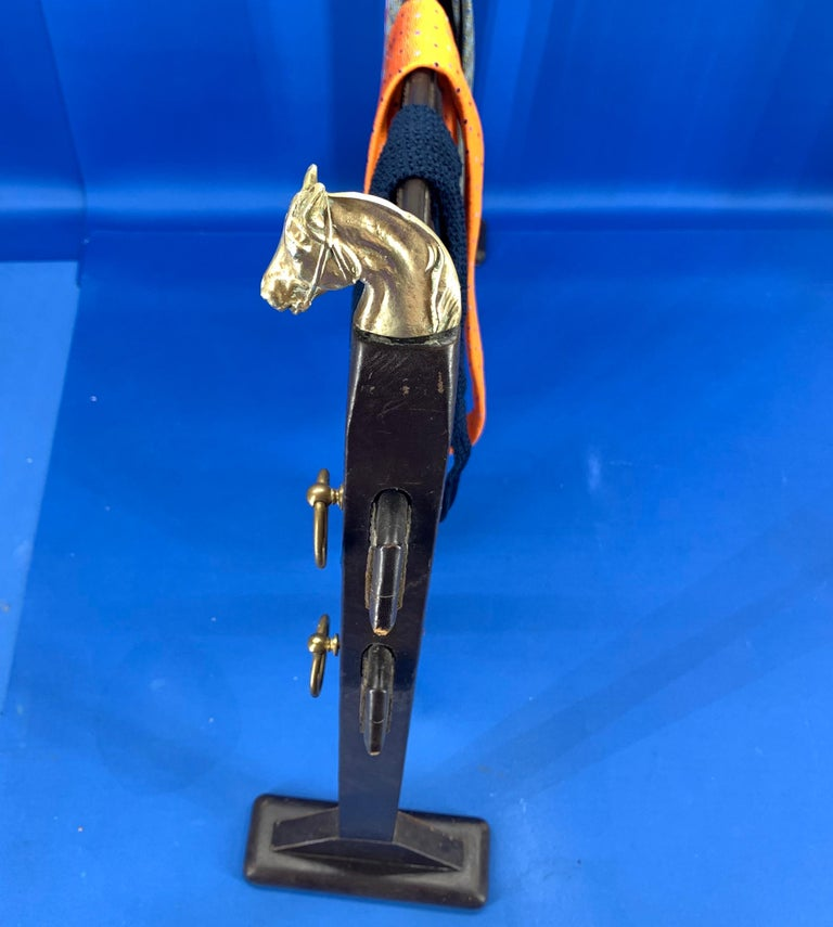 Vintage Hermès Tie Table Rack with Brass Horse Heads For Sale 4