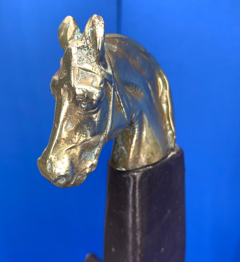 Vintage Hermès Tie Table Rack with Brass Horse Heads In Good Condition For Sale In Haddonfield, NJ